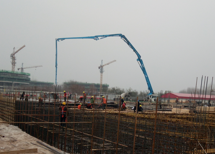 56m concrete boom pump truck support Qingdao new airport construction